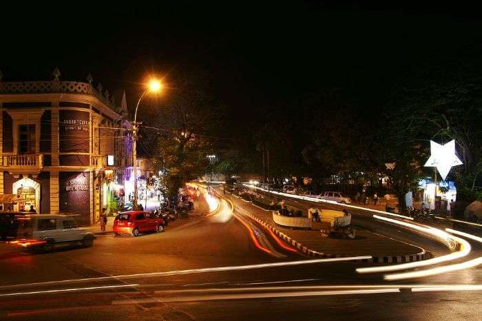 The bustling streets of Panaji at night