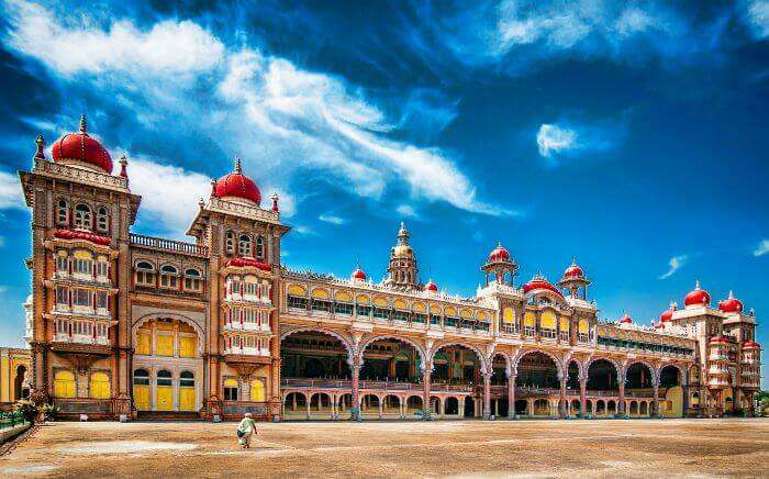 Panoramic view of the magnificently grand Mysore Palace
