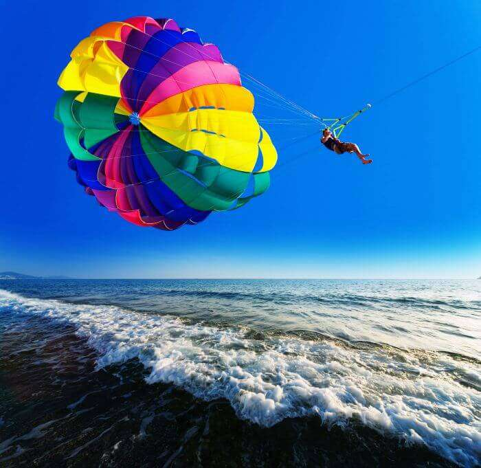 Let the speedboat pull you for a fantastic experience as try parasailing in Bali