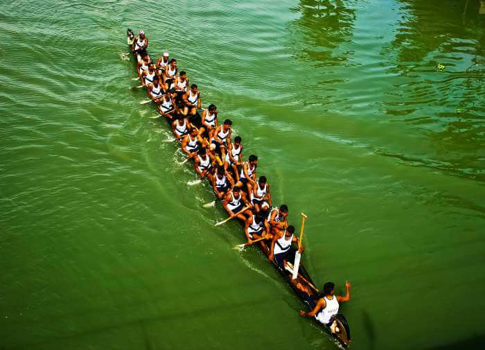 An ongoing practice session before Nehru Trophy Boat Race 2017