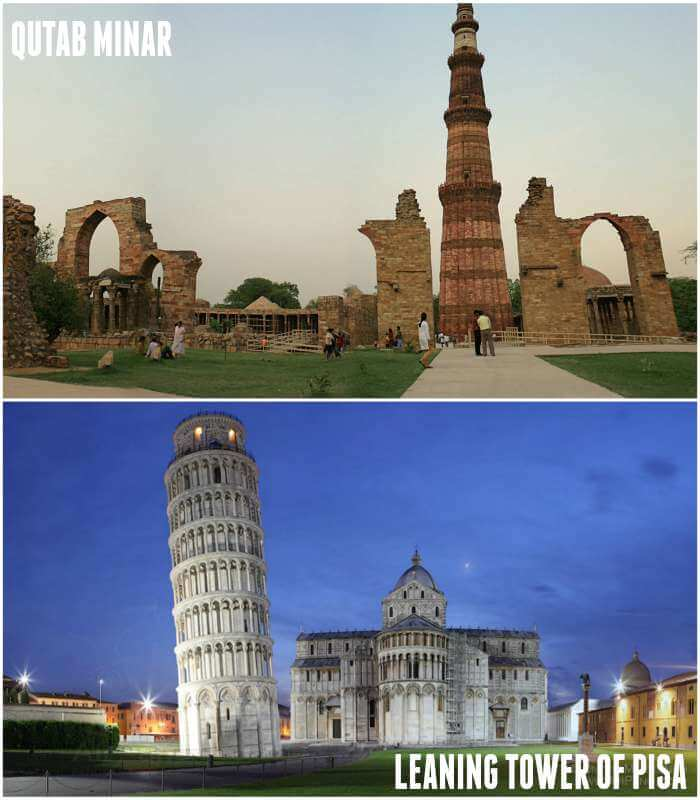 Qutab minar and leaning tower of pisa