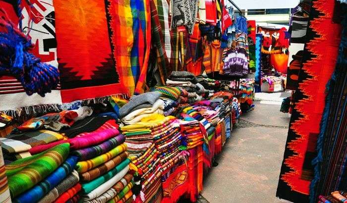 Colorful textiles exhibited at Quatre Bornes Market in Plaines Wilhems