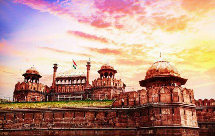 The glorious Red Fort during a sunset