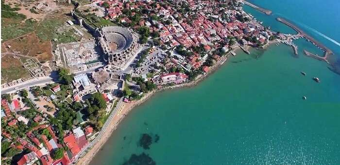 Bird-eye view of the ancient Greek city of Side