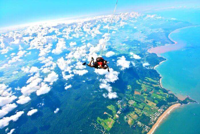 The panoramic views of the sea below while sky diving in India