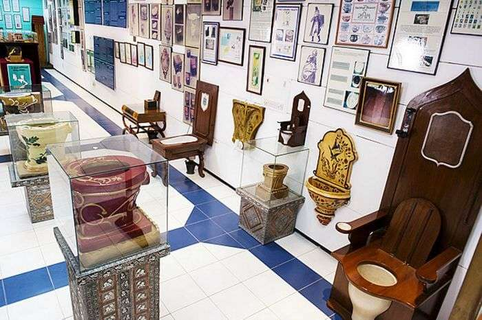 Various commodes displayed at the Sulabh International Museum of Toilet in Delhi