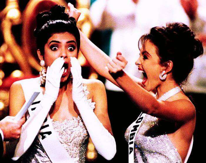 Sushmita Sen reacts as the name of Miss Universe 1994 is announced.