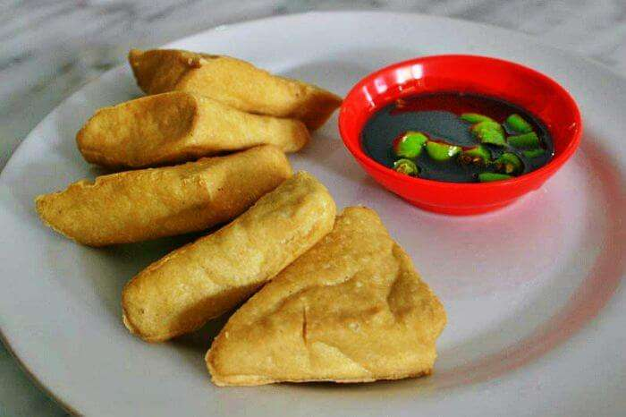 A popular food in Bali - Tahu and Tempe - served with sauce