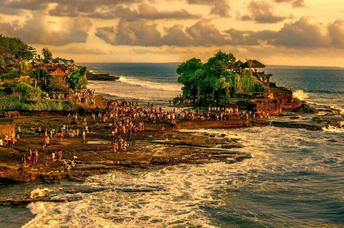 An evening view of Tanah Lot Temple