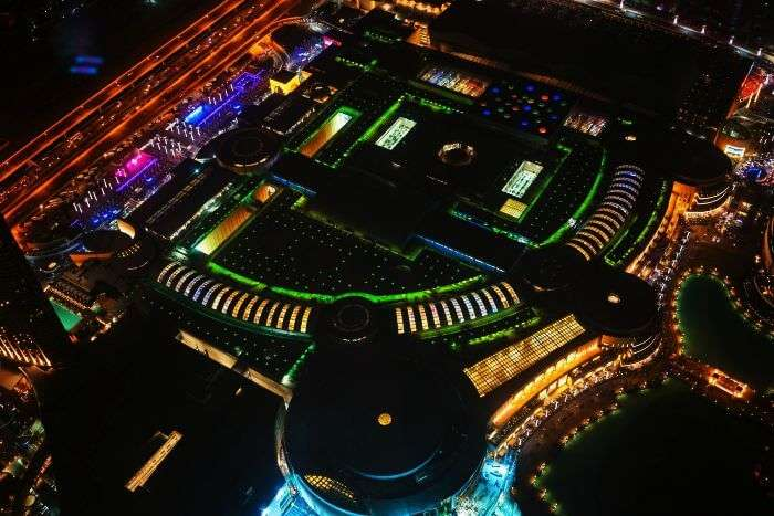 Top night view of one of the most popular tourist attractions in Dubai - The Dubai Mall