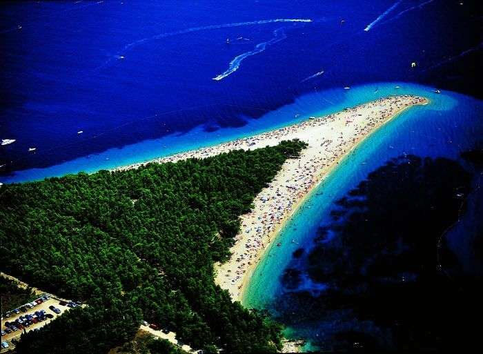 Most stunning of unique beaches in the world is Zlatni Rat Beach in Croatia