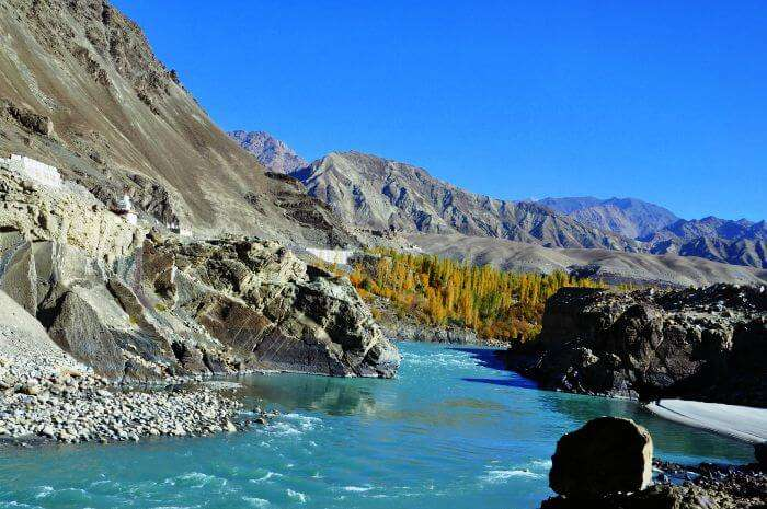 A view of the river in Leh during Autumn