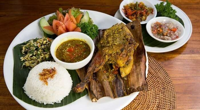 Bebek and Ayam Betutu is a traditional food in bali made of duck meat