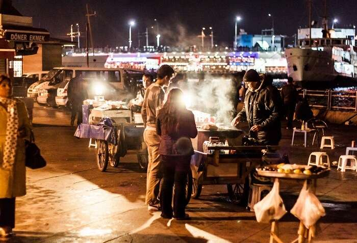 Walk on the galata bridge with your loved one and enjoy the local street food