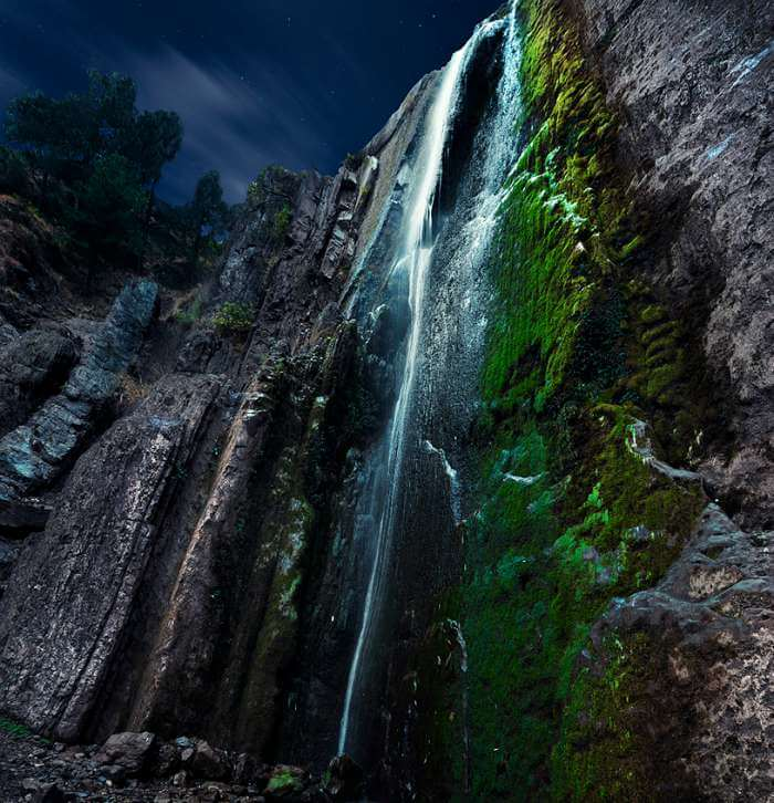 An autumn night view at the Dhani Waterfall