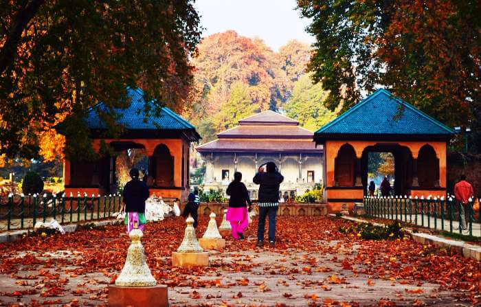 A family visits the Shalimar Gardens in Kashmir in the autumn season