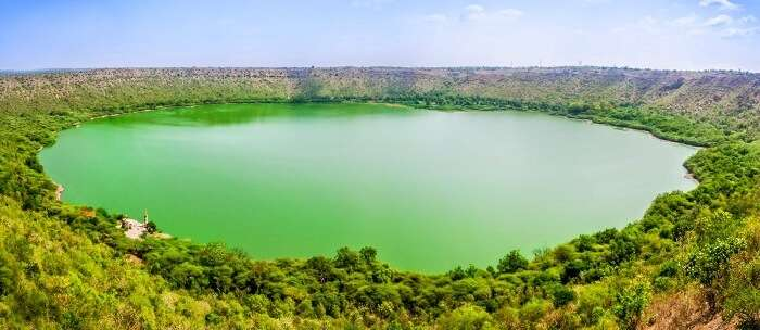 Lonar Lake is a natural lake formed in the third largest crater in the world