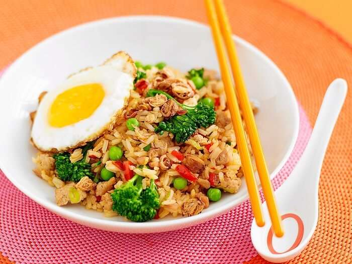 Nasi Goreng - a delicacy from Balinese cuisine - served with fried egg