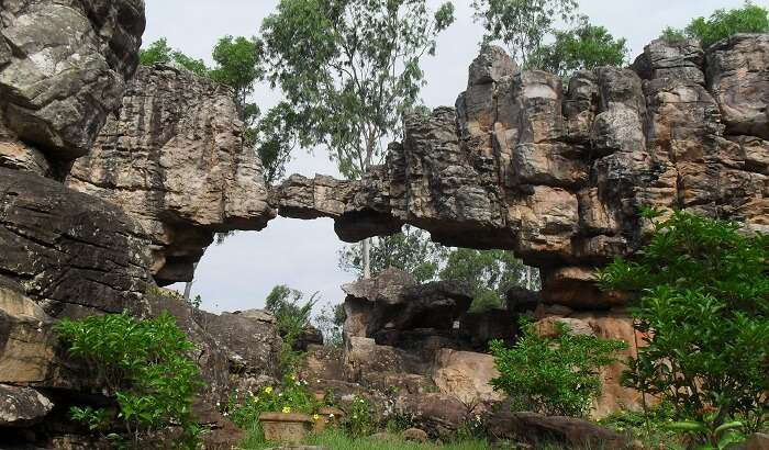 A beautiful view of the Natural Arch in the Tirumala hills