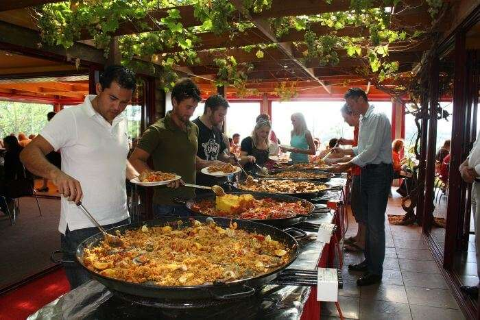 The Paella cooking contest on the eve of the main Tomatina festival