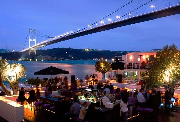A view of the bar at the Reina nightclub in Istanbul