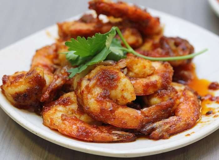 Sambal Udang is a spicy dish of prawns