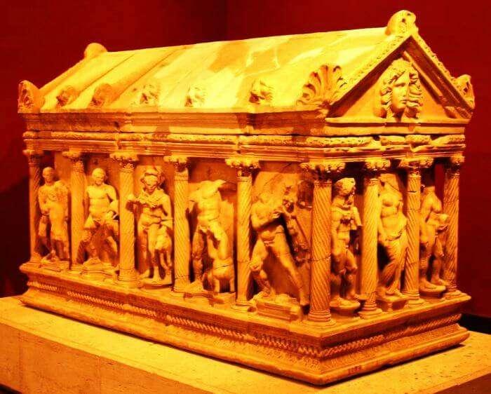 Ancient sarcophagi at the Antalya Archaeology Museum