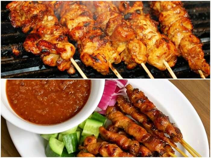 Shots of Sate Lilit being cooked and served