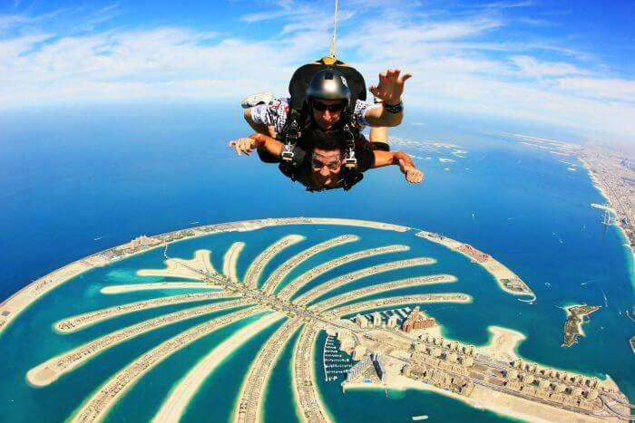 skydiving above Palm Jumeirah