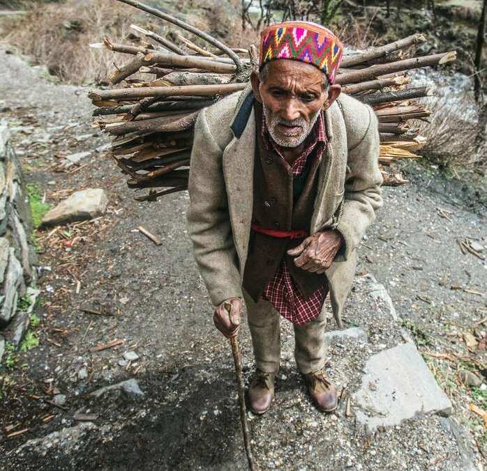A villager carrying branches for fire wood from the forest