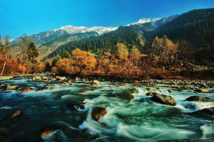 Water flows with rage in autumns in Kashmir
