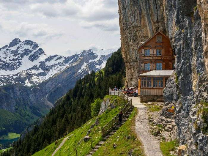 Beautiful Äscher Cliff Hotel in Switzerland just at the edge
