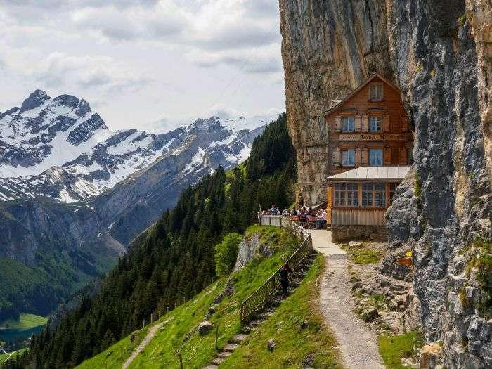 Beautiful Äscher Cliff Hotel in Switzerland just at the edge