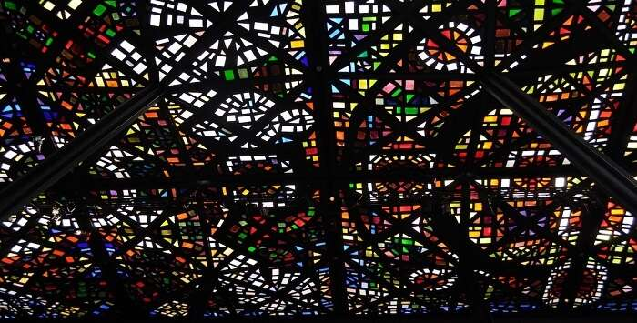 Colorful stains of the ceiling glass in the National Gallery of Victoria