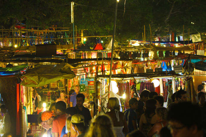 A flea market at night near  Arambol Beach
