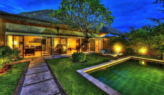 Evening view of Bali Rich Luxury Villa, Seminyak