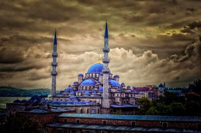 Soothing blues of the Blue Mosque with contrasting grey sky