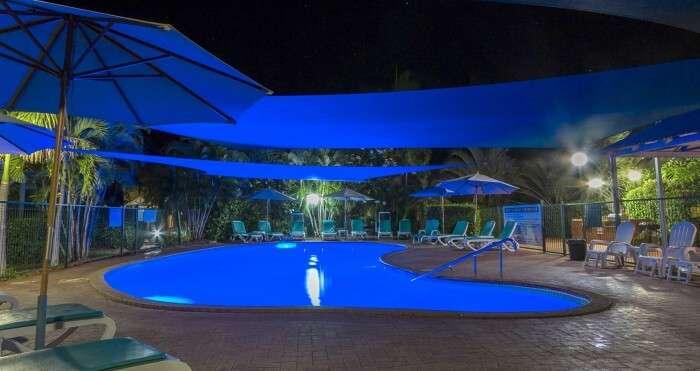 night view of swimming pool in Broome Beach resort