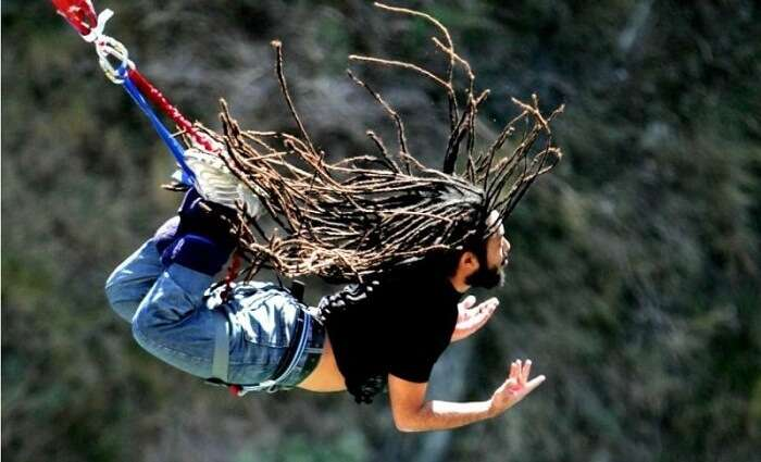 A man experiences thrill while trying bungee jumping in goa