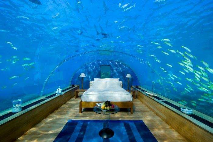 Underwater room at Conrad Hotel in Maldives