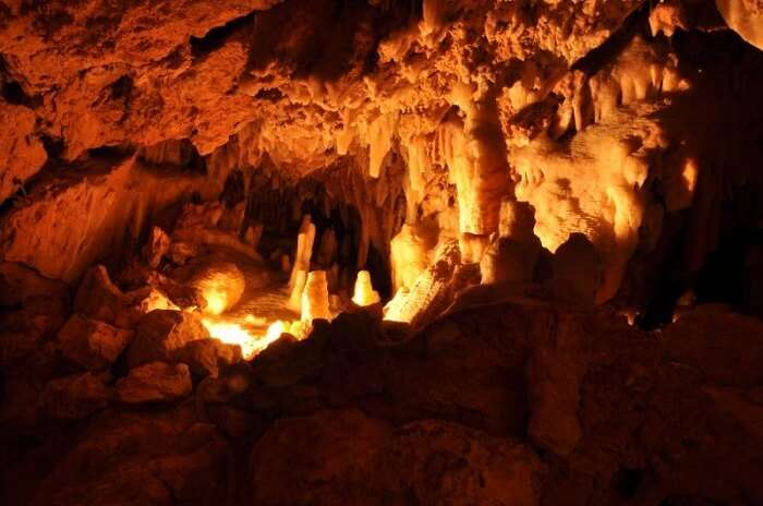 Inside shot of the Crystal Caves at Yanchep National Park in Australia