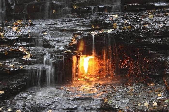 Natural methane emerges from fissures in the ground where it can be lit
