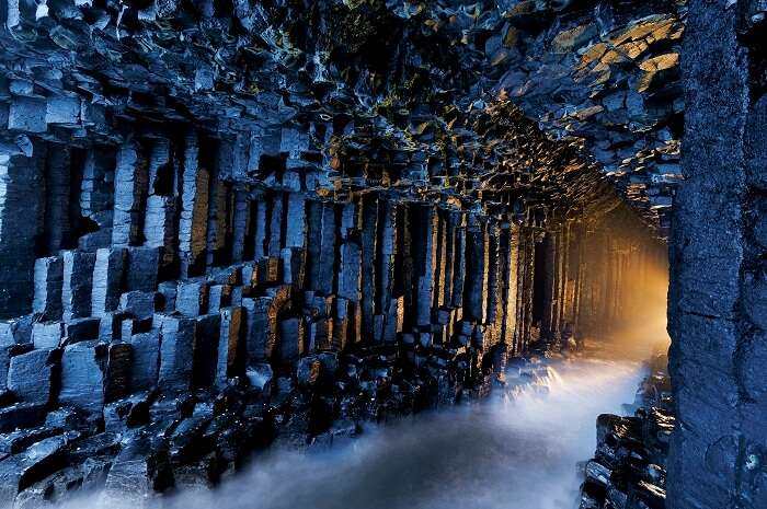 The heavenly appearance of the Fingal's Cave in Scotland