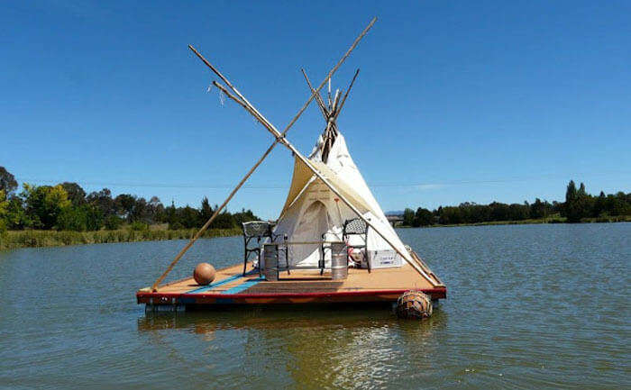 Floating teepee on a raft