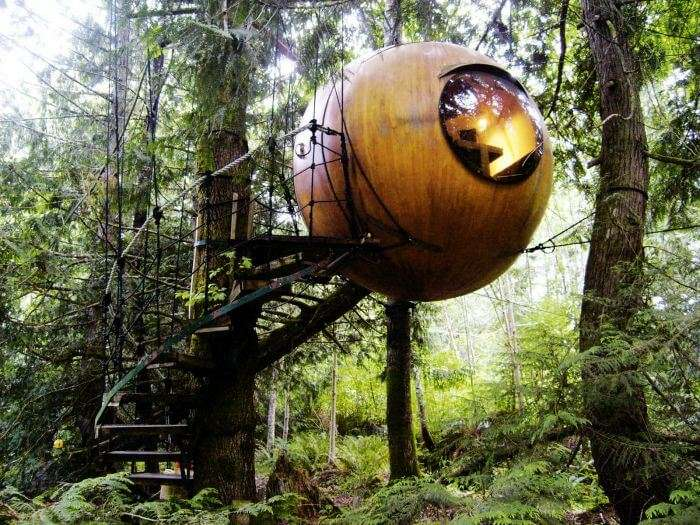 The round Free Spirit Spheres in Canada