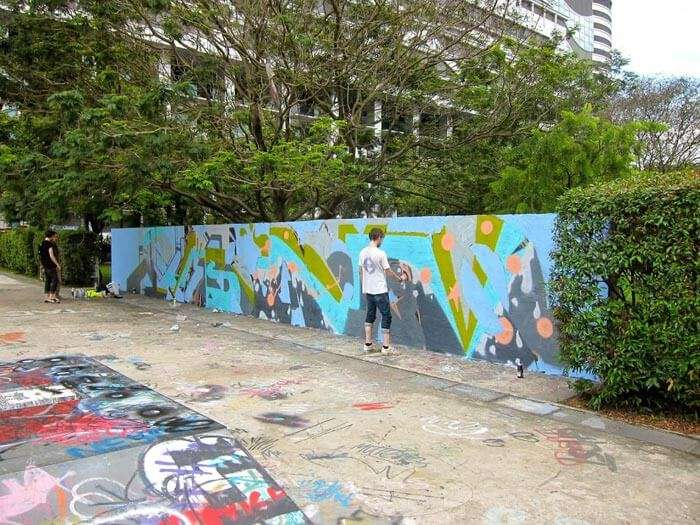 Graffiti at Somerset Skate Park is a creative activity to do in Singapore for free