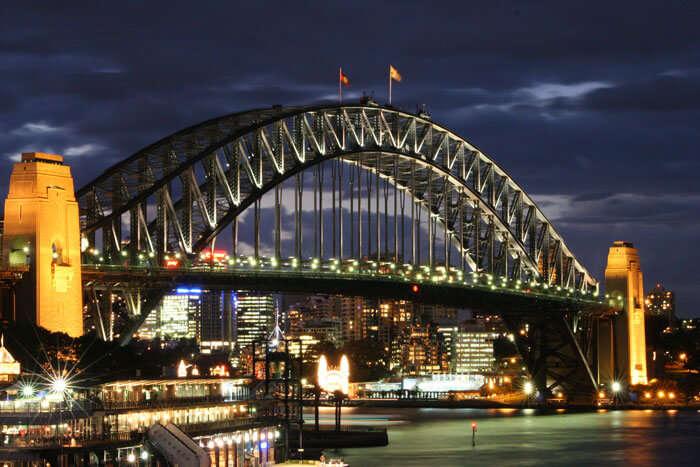 Illuminated Harbor Bridge
