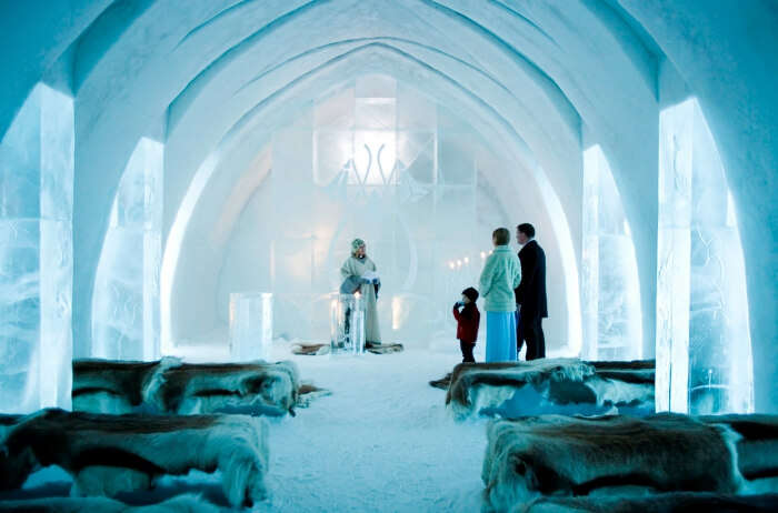 The chilly rooms of Ice Hotel Jukkasjarvi in Sweden