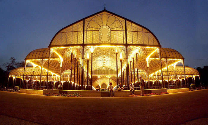 An illuminated Lalbagh Glass House