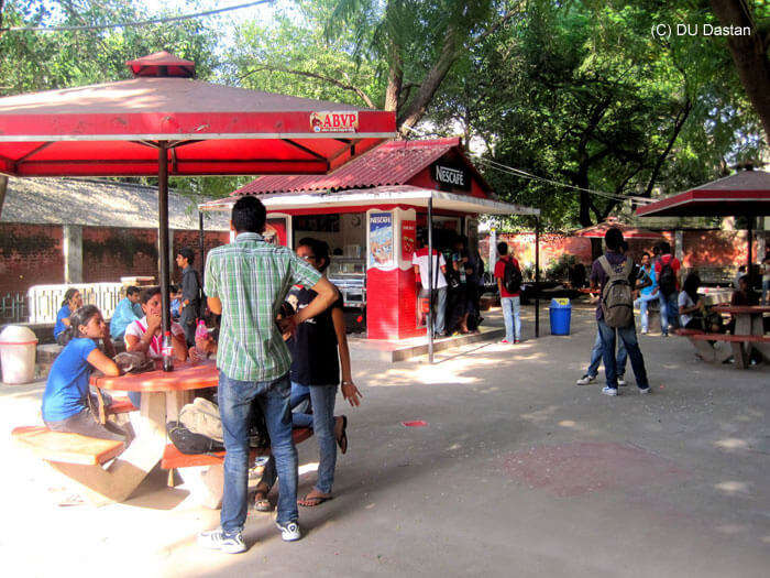 The lively Lover's Point in Hansraj College with various offerings of delicious food